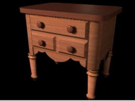 Vintage bedside table 3d model