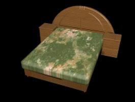 Platform bed with nightstands 3d model