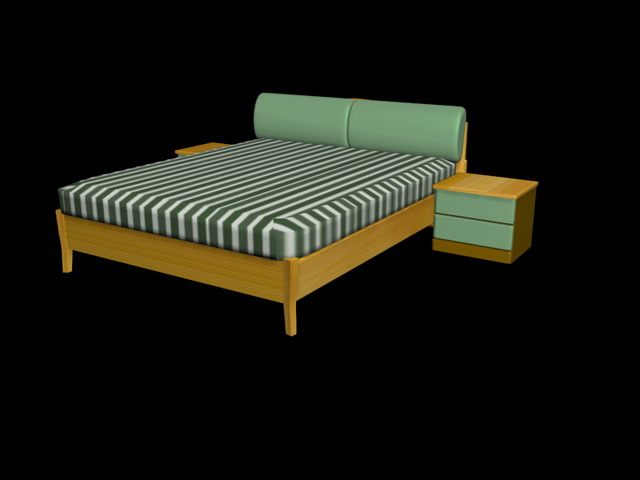 Bed and nightstands 3d model