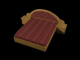 Platform bed and nightstands 3d model