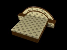 King size wood bed with nightstands 3d model