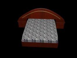Red wood platform bed 3d model