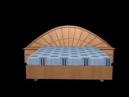 Modern platform bed with nightstand 3d model