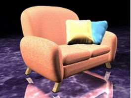 Pink upholstered sofa chair 3d model