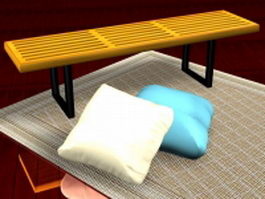 Bench and pillows 3d model