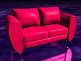 Deep pink loveseat 3d model