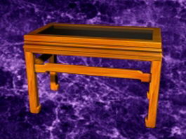 Vintage glass top coffee table 3d model