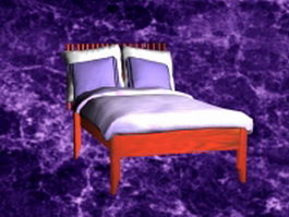 Wood bed with sheets 3d model