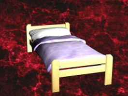 Single bed with sheets 3d model