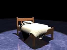 Rustic wood twin bed 3d model