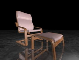 Accent chair and ottoman sets 3d model