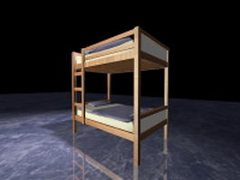 Wood bunk beds with stairs 3d model