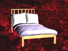 Wood twin bed with headboard 3d model