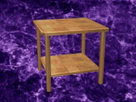 Wood bedside table 3d model