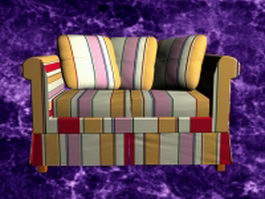 Striped loveseat 3d model
