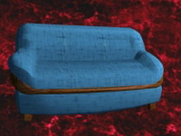 Blue sofa and loveseat 3d model