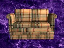 Plaid reclining loveseat 3d model
