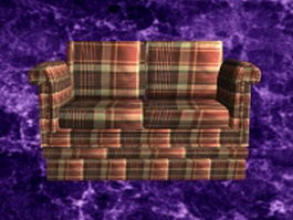 Country plaid loveseat 3d model