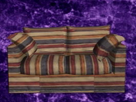 Country plaid sofa and loveseat 3d model