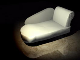 White chaise lounge 3d model