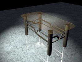 Brown glass coffee table 3d model