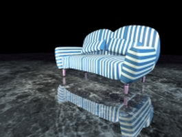 Striped fabric loveseat 3d model