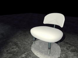 Modern white accent chair 3d model