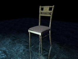Vintage wood dining chair 3d model