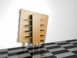 Wooden wall display shelves 3d model