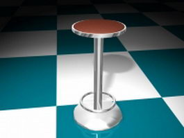 Floor fixed bar stool 3d model