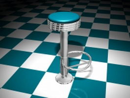 Floor mounted bar stool 3d model
