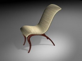 Vintage wood reclining chair 3d model