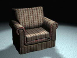Floral fabric sofa chair 3d model