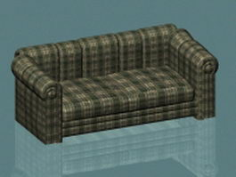 Plaid loveseat 3d model