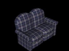 Blue & white plaid loveseat 3d model