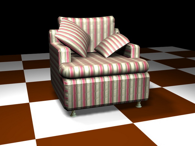 Red striped sofa chair 3d model 3D Studio,3ds max files free ...