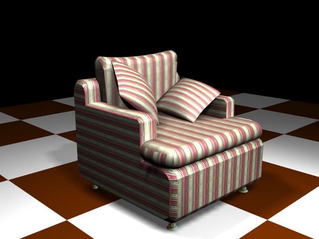 Red And White Striped Single Sofa With Pillows 3d Model Design. Available  3D Object Format: .3DS (3D Studio) .MAX (3ds Max) Scanline Render
