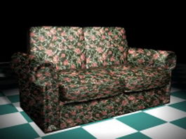 Floral loveseat furniture 3d model