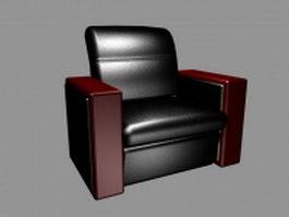 Black leather club chair 3d model