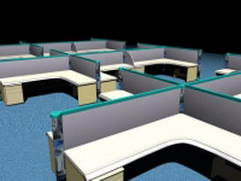Office cubicle layout 3d model