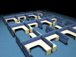 Modern office cubicle systems 3d model