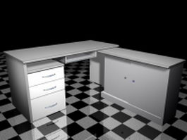 White office computer desk 3d model