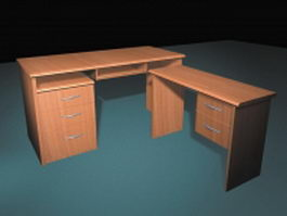 Staff office desk 3d model