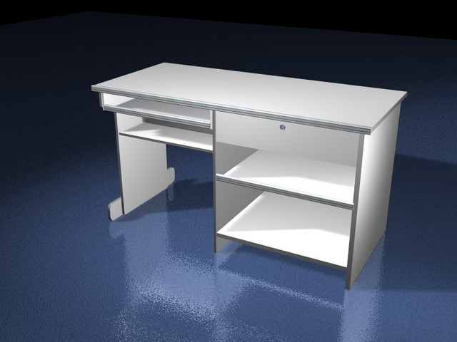 small office computer desk. Small Office Computer Desk 3D Model K