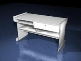 White computer desk 3d model