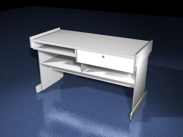White Computer Desk 3d Model 3d Studio 3ds Max Files Free
