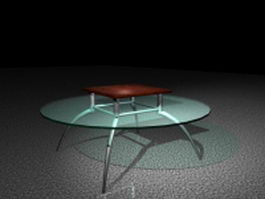 Round class top coffee table 3d model