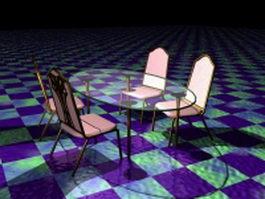 Glass dining room sets 3d model