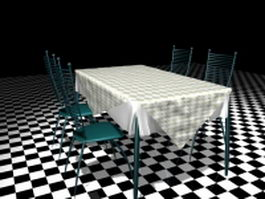 Metal dining room sets 3d model