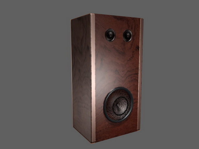 Vintage Wood Bookshelf Speaker 3D Model